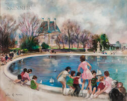 Jules René Hervé (French, 1887-1981)      Sailing Toy Boats in the Tuileries Garden