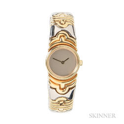 "18kt Gold and Stainless Steel ""Parentesi"" Bracelet Watch, Bulgari"