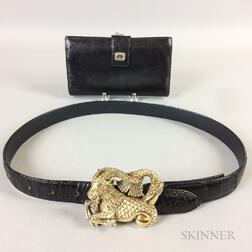 Gucci Black Leather Wallet and Leather Belt with Sterling Silver Ram Buckle