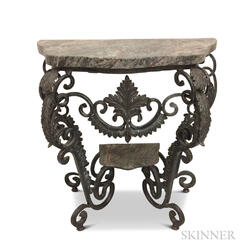 French-style Marble-top Wrought Iron Console Table
