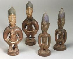Two Pairs of African Carved Wood Ibeji Dolls