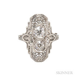 Art Deco 14kt White Gold and Diamond Filigree Ring