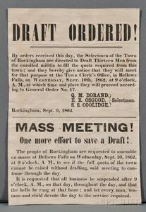 Civil War Draft Notice Broadside, Rockingham, Vermont (1862).