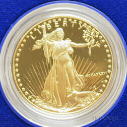 1986 $50 Proof American Gold Eagle.     Estimate $1,000-1,200