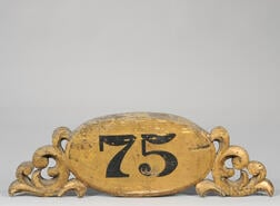 """Gilt and Painted Carved Wood """"75"""" Plaque"""