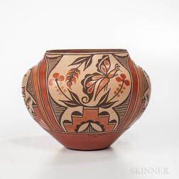 Contemporary Polychrome Zia Pottery Olla