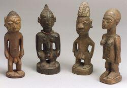 Four African Carved Wood Ibeji Dolls
