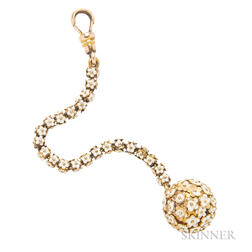 Antique 14kt Gold and Enamel Flower Ball Watch Fob