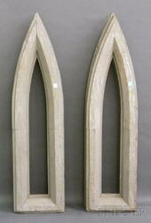 Pair of Gray-painted Architectural Gothic Wood Window Frames