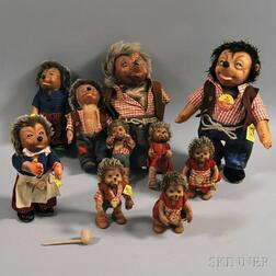 Ten Steiff Mecki the Hedgehog and Family Dolls