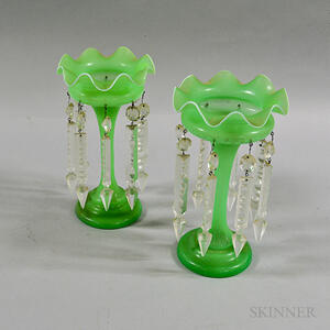 Pair of Celadon Glass Lusters
