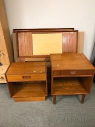 Two Mid-Century Modern Single Teak Headboards and Two Teak Nightstands.     Estimate $20-200