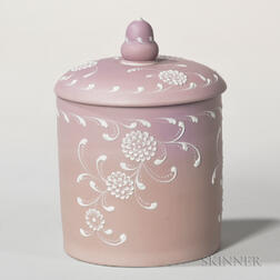 Wedgwood Harry Barnard Decorated Lilac Jasper Dip Biscuit Jar and Cover