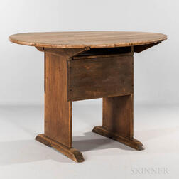Maple Circular-top Shoe-foot Hutch Table