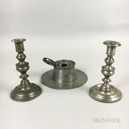 Two Weekes Pewter Candlesticks and an English Pewter Inkwell