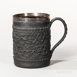 Wedgwood & Bentley Black Basalt Silver-mounted Cider Mug