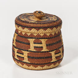 Northern California Twined Lidded Basket