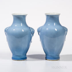 Pair of Clair-de-lune Vases