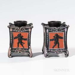 Pair of Wedgwood Encaustic Decorated Black Basalt Bough Pots and Covers