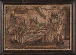 Needlework Picture of an Elegant Social Scene