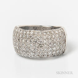 14kt White Gold and Pave-set Diamond Ring