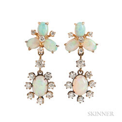 14kt Gold, Opal, and Diamond Earclips