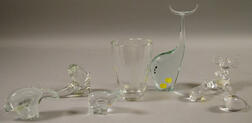 Seven Scandinavian and European Colorless Art Glass Figures and a Vase