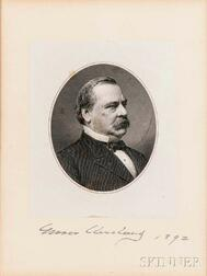 Cleveland, Grover (1837-1908) Steel Engraved Portrait with Signature, 1892.