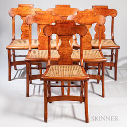 Set of Six Classical Tiger Maple Chairs