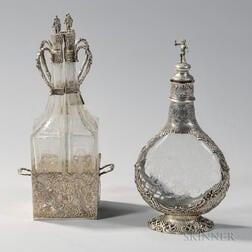 Two Pieces of German Silver-mounted Glass Tableware