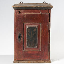 Small Red-painted Wall Cupboard