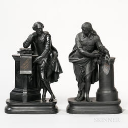 Matched Pair of Wedgwood Black Basalt Milton and Shakespeare Figures