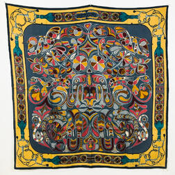 "Hermes ""Folklore"" Cashmere Scarf"