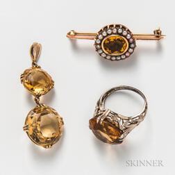14kt Gold and Citrine Ring and Brooch and Double Citrine Pendant
