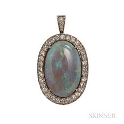 18kt White Gold, Opal, and Diamond Pendant