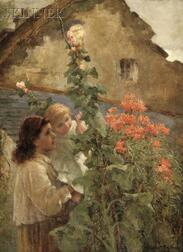 Constance Gertrude Copeman  (British, 1864-1953)      Young Woman Holding a Child Beside Hollyhocks