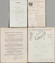 American Writers, Politicians, Activists, and Explorers, Five Signed Letters, Late 19th-Early 20th Century.