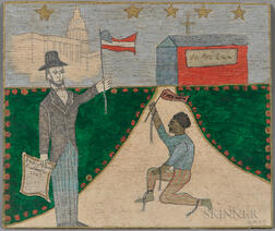 American School (20th Century),   Oil on Board Depicting President Lincoln Holding the Emancipation Proclamation