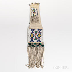 Plains Beaded Hide Pipe Bag with Strike-a-Lite Pocket