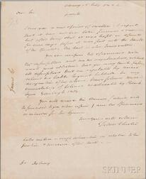 Clinton, DeWitt (1769-1828) Autograph Letter Signed, Albany, 15 July 1824.