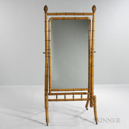 Aesthetic-style Bamboo-turned Cheval Mirror
