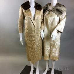 Two Silk Brocade Coats with Fur Collars