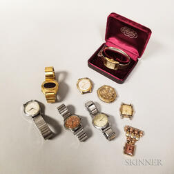 Eight Men's Wristwatches and Assorted Watch Boxes
