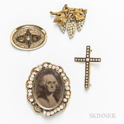 Four Antique Gold-filled Brooches