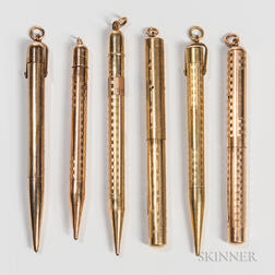 Six Conklin Gold-filled Writing Instruments