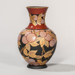 Wedgwood Enameled and Gilded Black Basalt Vase