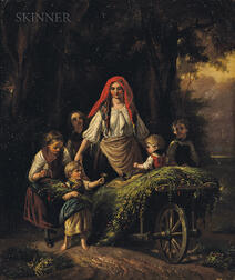 British School, 19th Century      Two Genre Paintings of Children with Harvest Carts