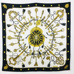 "Hermes ""Cles"" Silk Scarf and ""Cliquetis"" Silk Scarf"