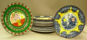 Seventeen Assorted Wedgwood Transfer Decorated Plates.