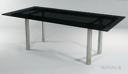 "Tobia Scarpa ""Andre"" Glass and Stainless Steel Dining Table for Knoll"
